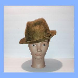 Vintage 1960 Olive Green Felt Fur Lee Fedora